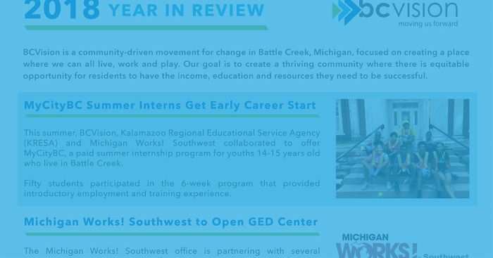 A section pulled from the PDF about the 2018 Year in Review, accompanied by a blue overlay